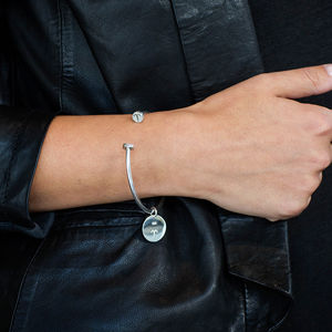 Dark Paradise Sterling Silver Bangle With Coin Charm - personalised