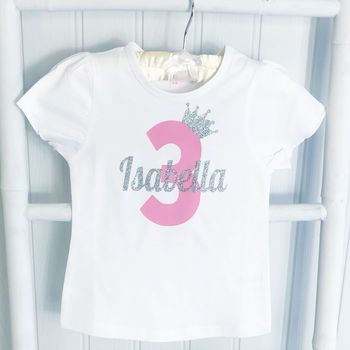 Birthday Girls Personalised Sparkle Number T Shirt