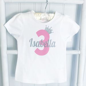 Birthday Girls Personalised Sparkle Number T Shirt - clothing
