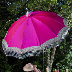 Indian Inspired Garden Parasol With Silver Trim