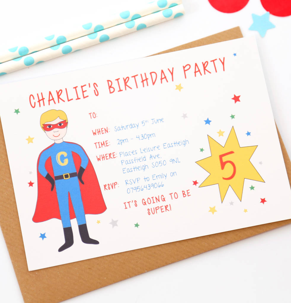 Superhero Personalised Birthday Party Invitations