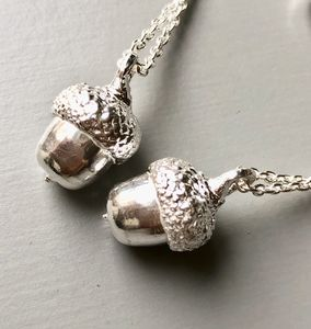 Mini Solid Silver Acorn Necklace Cast From A Real Acorn - necklaces