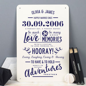 Personalised Anniversary Metal Type Print - 10th anniversary: tin