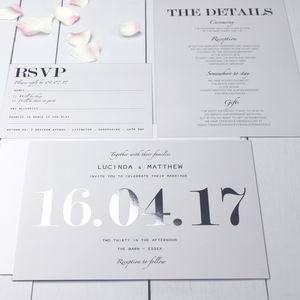 Modern Traditional Silver Foil Wedding Invitation - wedding stationery