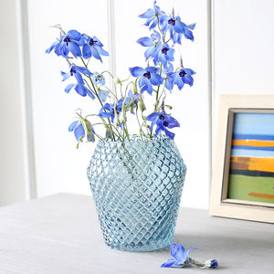 Blue Cut Glass Vase - flowers, plants & vases