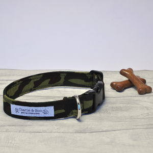 Green And Black Camouflage Dog Collar