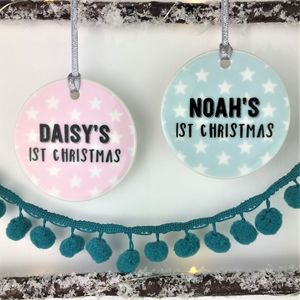 Ceramic Baby's First Christmas Star Bauble