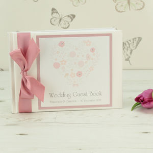 Personalised Floral Heart Wedding Guest Book - guest books