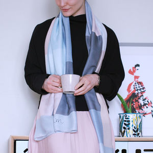 Personalised Colour Block Print Scarf - gifts for her