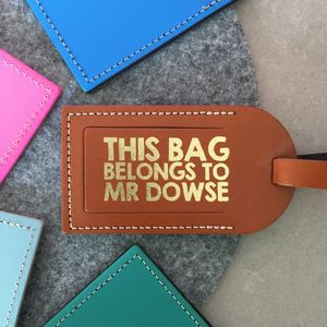 Leather Luggage Tag With Metallic Print - gifts for her
