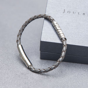 Personalised Charcoal Slim Open Scroll Mens Bracelet