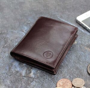 Personalised Leather Wallet With Coin Section 'Rocca'