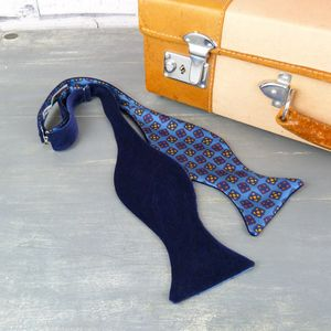 Oversized Self Tie Velvet And Silk Bow Tie - ties & tie clips