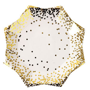 Gold Foil Confetti Paper Party Plates