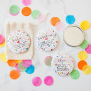 Colourful Confetti Print Big Badge Or Mirror