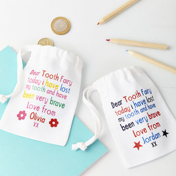 Child's Personalised Tooth Fairy Bag