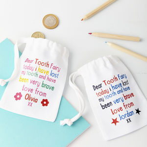 Child's Personalised Tooth Fairy Bag - more