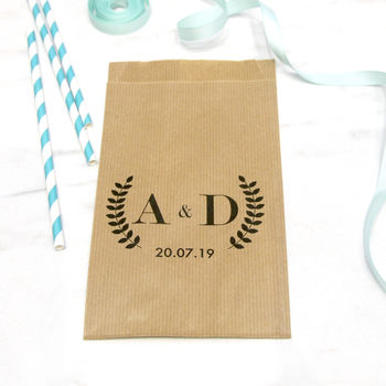 Personalised Wreath Wedding Favour Bags
