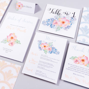 Table Plan, Numbers, Place Card, Menus : Periwinkle