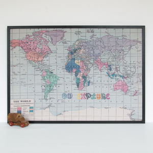 'Go Explore' Embroidered World Map Noticeboard - kitchen accessories
