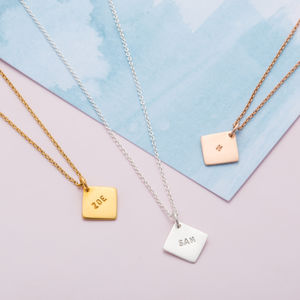 Personalised Geometric Diamond Tag Necklace