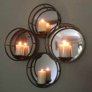 Four Circles Mirrored Wall Sconce For Candles - mirrors
