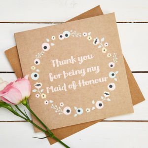 Thank You Maid Of Honour Card Kraft Floral - thank you cards