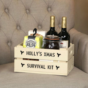 Personalised Small Christmas Gift Crate - cards & wrap