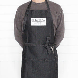 Denim 'King Of' Personalised Mens Apron