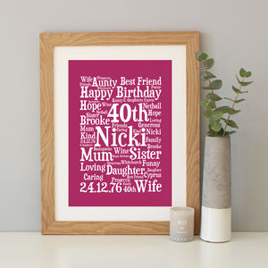 Personalised 40th Birthday Word Art Gift - winter sale