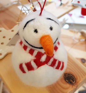 Needle Felt Snowman With Red Scarf