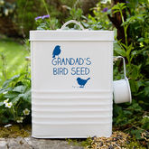 Personalised Bird Food Storage Tin - garden