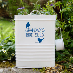 Personalised Bird Food Storage Tin - gifts for grandfathers
