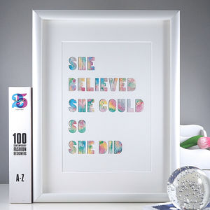 'She Believed She Could' Watercolour Typrographic Print - modern & abstract