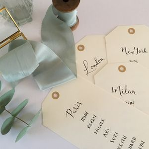 Luggage Tag Modern Calligraphy Table Plan Cards