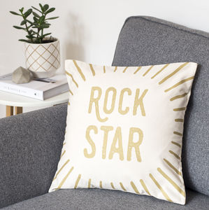Rock Star Gold Cushion Cover - bedroom