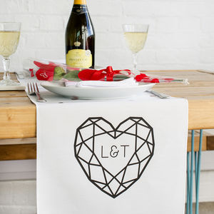 Jewelled Heart Personalised Table Runner