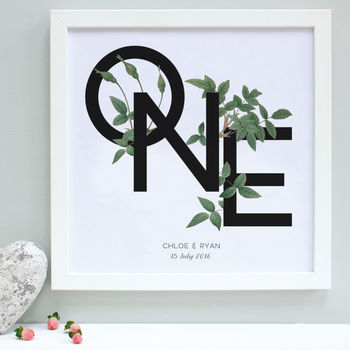 Personalised Anniversary Botanical Framed Print