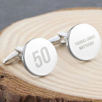 Personalised Age Round Message Cufflinks