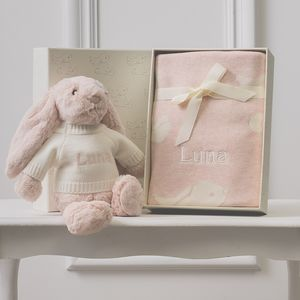 Personalised Pink Bashful Blanket And Bunny Baby Set
