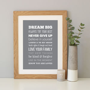 'Rules Of Life' Inspirational Quote Print - posters & prints for children