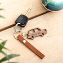Personalised Wooden Walnut Car Keyring Gift