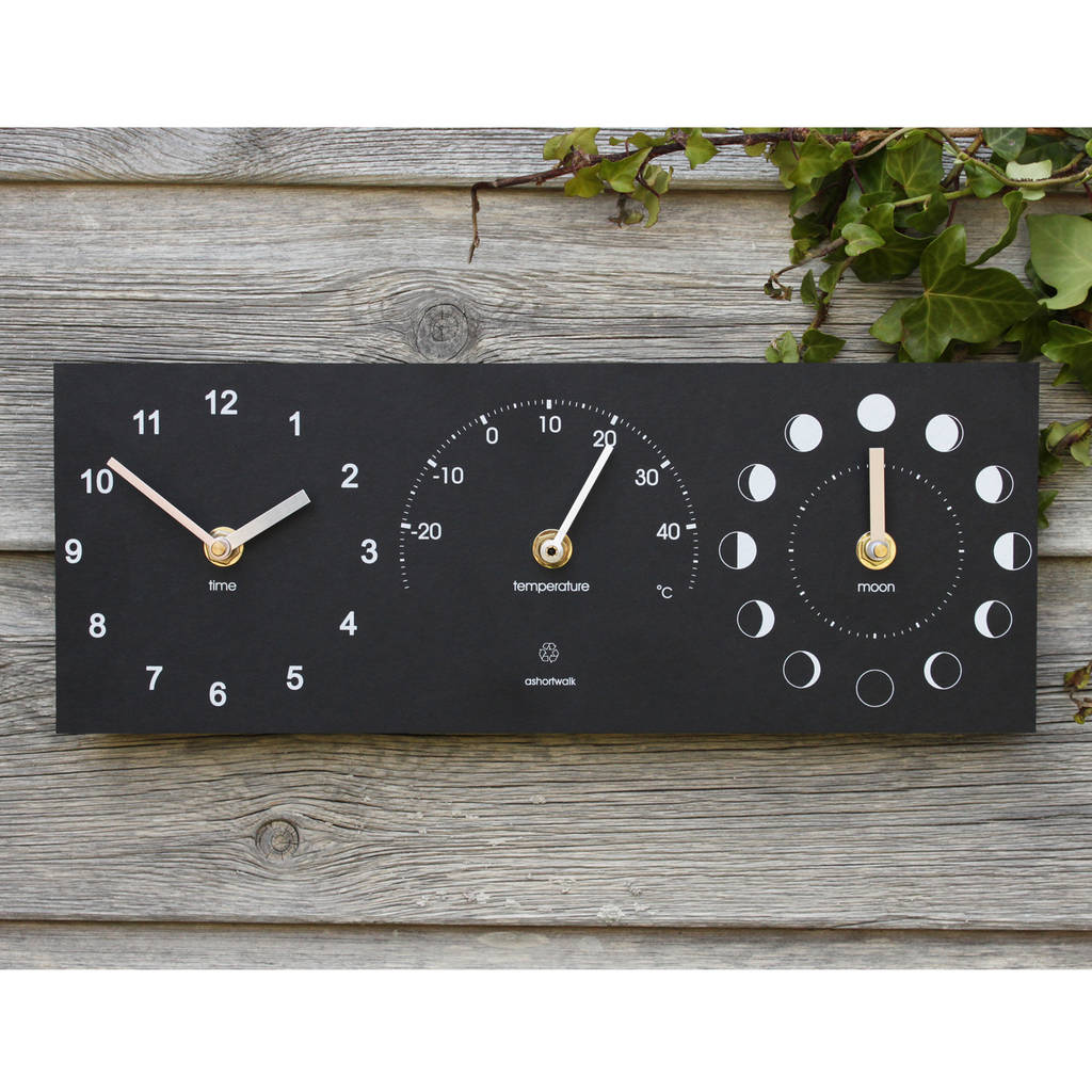 Eco Recycled Moon Phase Outdoor Clock And Thermometer Gifts For Grandpas