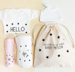 Personalised New Baby Girl Hospital Gift Set