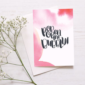 Celebration Card 'Pop Open The Bubbly!' - shop by category