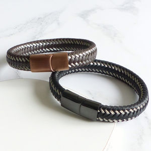 Mens Woven Leather Steel Bracelet