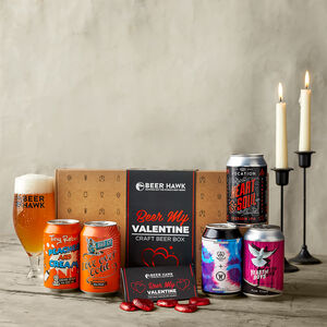 Beer My Valentine Gift Hamper With Chocolates And Glass