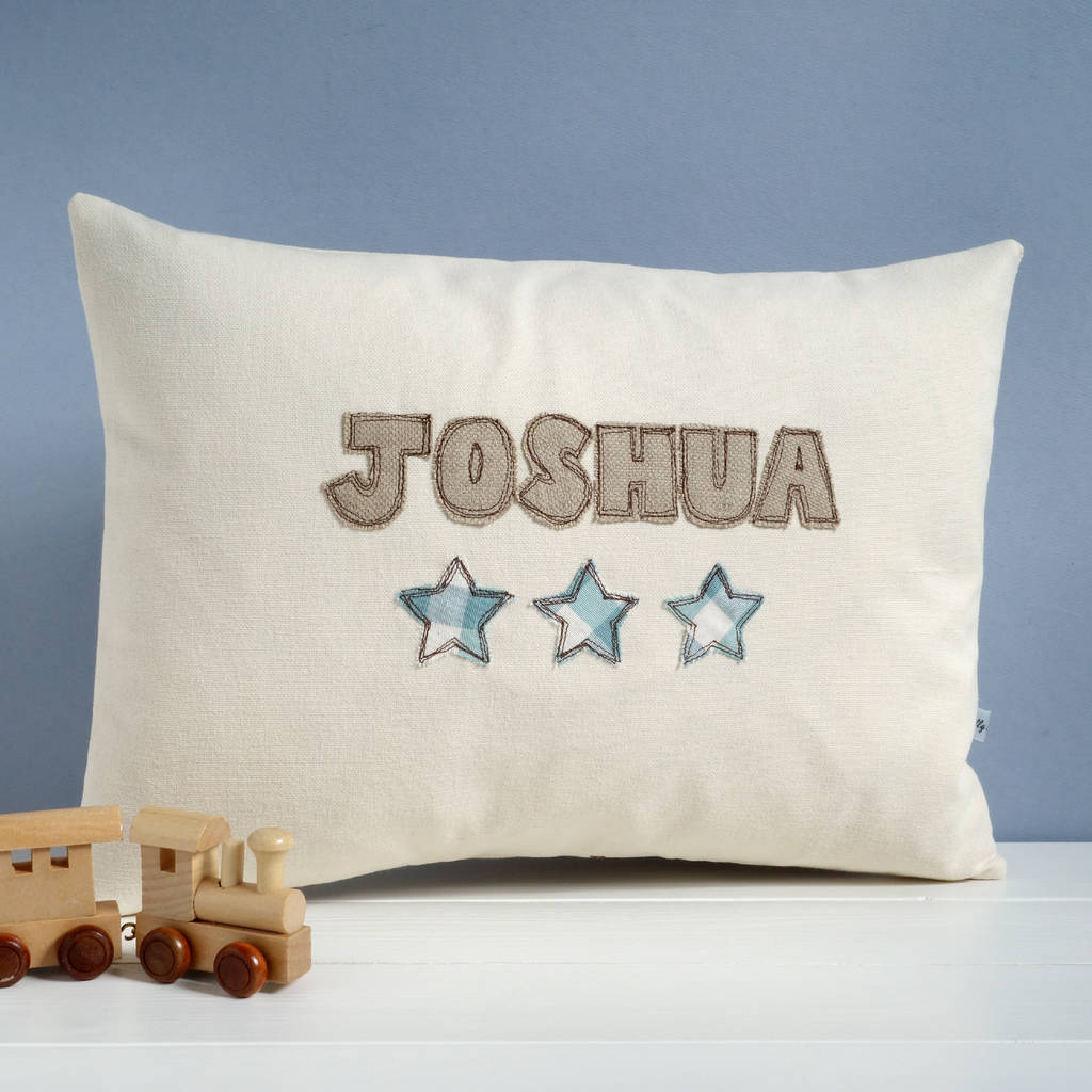 Personalised Name Cushion With Stars personalised name