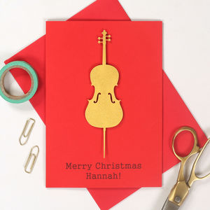 Personalised Gold Instrument Christmas Card - christmas cards
