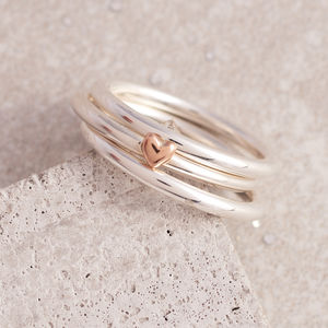 Silver And Gold Heart Or Star Stacking Ring Set